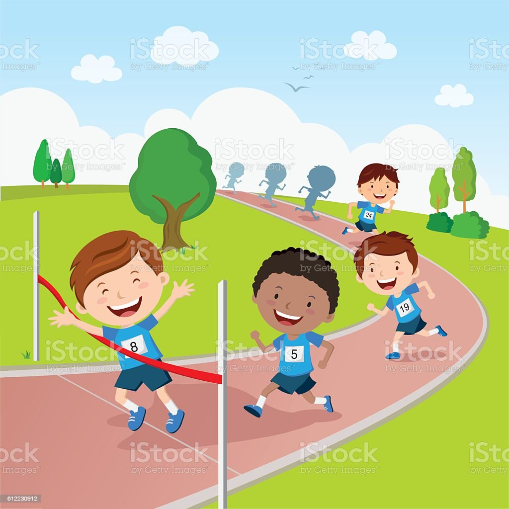 Running competition vector art illustration
