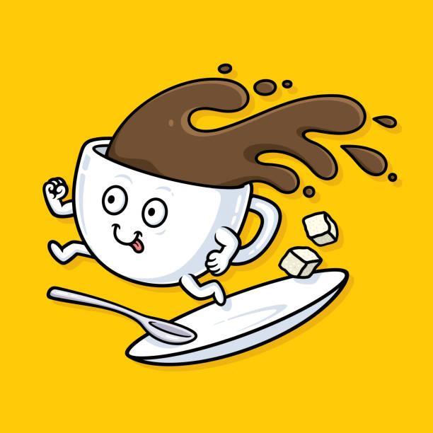 Laufende Tasse Kaffee – Vektorgrafik