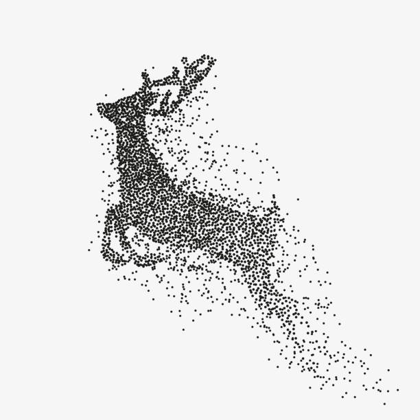Running deer black particles divergent silhouette vector art illustration