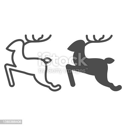 istock Running Deer line and solid icon, Christmas and New Year concept, jumping reindeer sign on white background, wild animal with horns icon in outline style for web design. Vector graphics. 1285388406