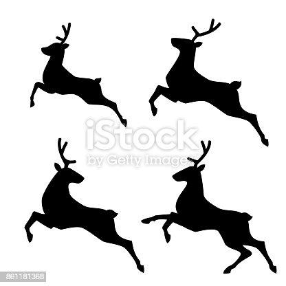Running Deer set. Vector illustration.