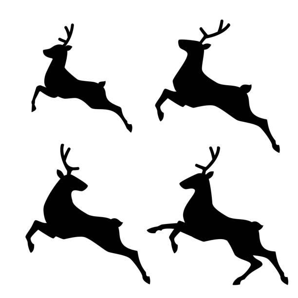 running deer set vector illustration vector art illustration
