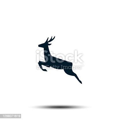 istock Running Deer Sign Icon. Antler Vector Template Flat Design 1256071819