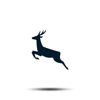 Running Deer Sign Icon. Antler Vector Template Flat Design