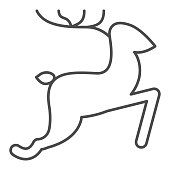 istock Running Deer thin line icon, Christmas and New Year concept, jumping reindeer sign on white background, wild animal with horns icon in outline style for web design. Vector graphics. 1285203217