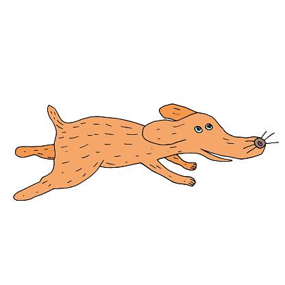 Running dog. Hand drawn illustration. Cartoon vector sketch