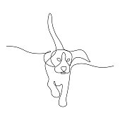 Running dog in continuous line art drawing style. Black line sketch on white background. Vector illustration