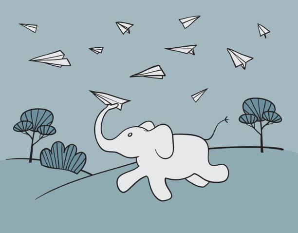 bildbanksillustrationer, clip art samt tecknat material och ikoner med running elephant launcher paper airplanes - jogging hill