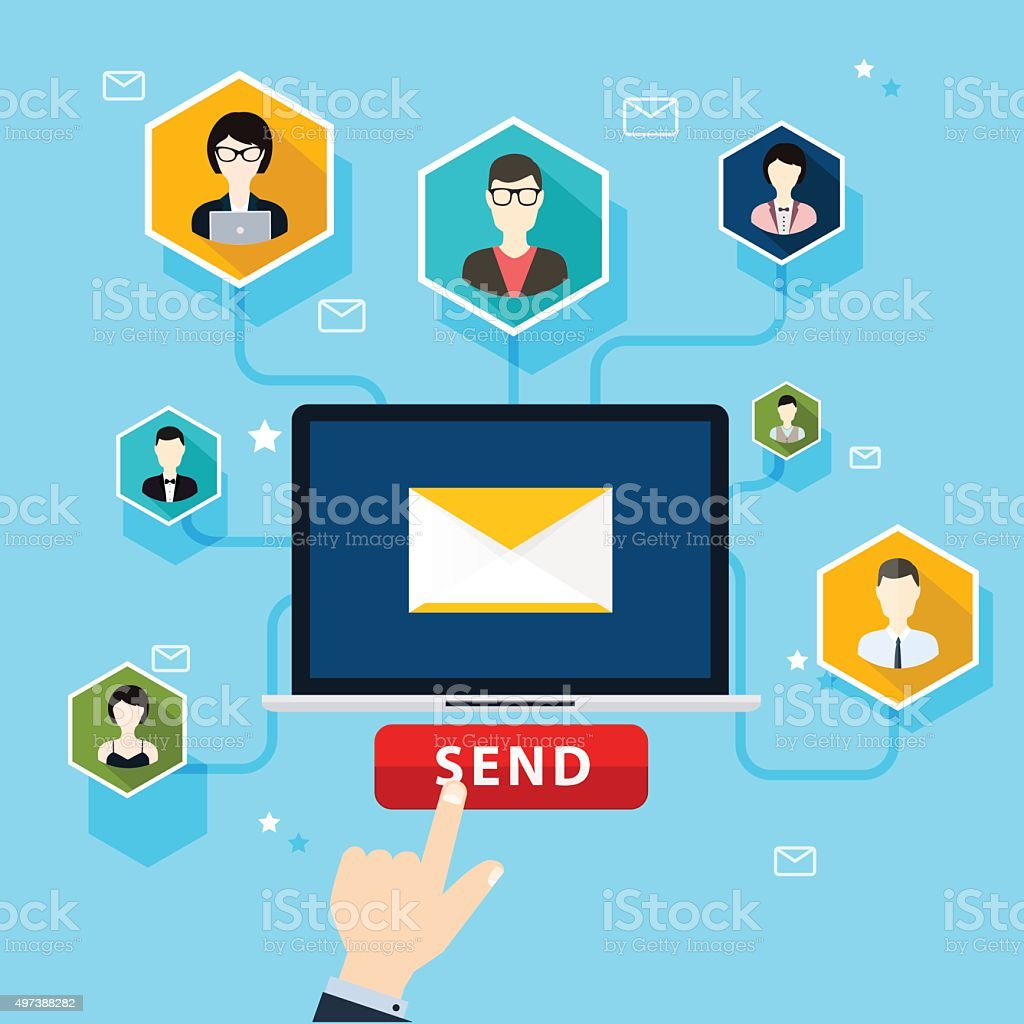 Running email campaign, email advertising, direct digital market vector art illustration