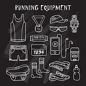 Running Equipment in doodle style. Vector. Isolated. Chalkboard