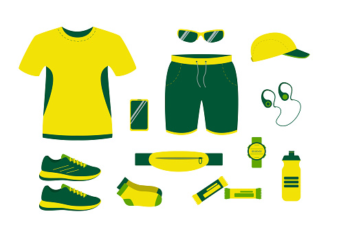 Running equipment in summer. clothing, shoes and accessories for man athlete