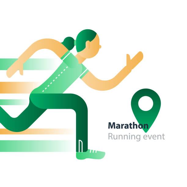 lauf-event, marathon-teilnahme, hetzen, frau in bewegung - langstreckenlauf stock-grafiken, -clipart, -cartoons und -symbole