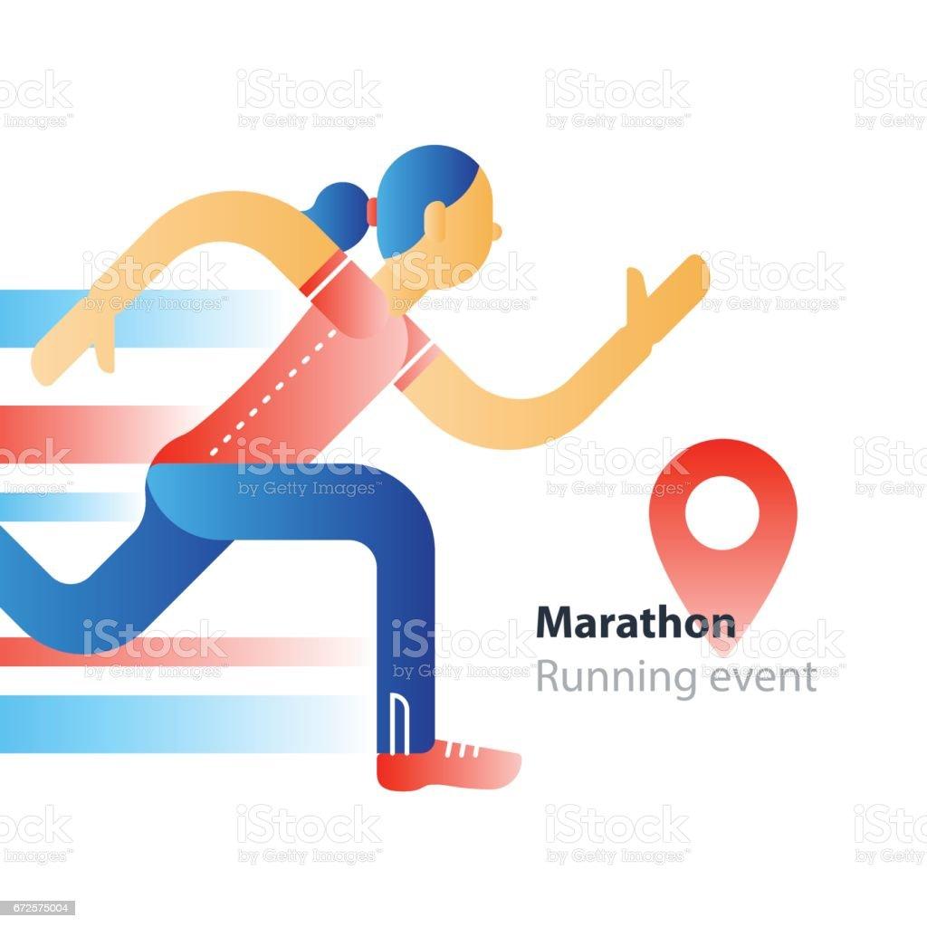 Running event, marathon participation, rushing woman in motion vector art illustration