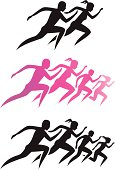 Stylized vector illustration of a family running. Each person in the file is on their one layer as a solid object, so you can pick and choose which ones to use. Could be good for race t-shirts...