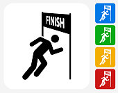 Running Finish Line Icon. This 100% royalty free vector illustration features the main icon pictured in black inside a white square. The alternative color options in blue, green, yellow and red are on the right of the icon and are arranged in a vertical column.