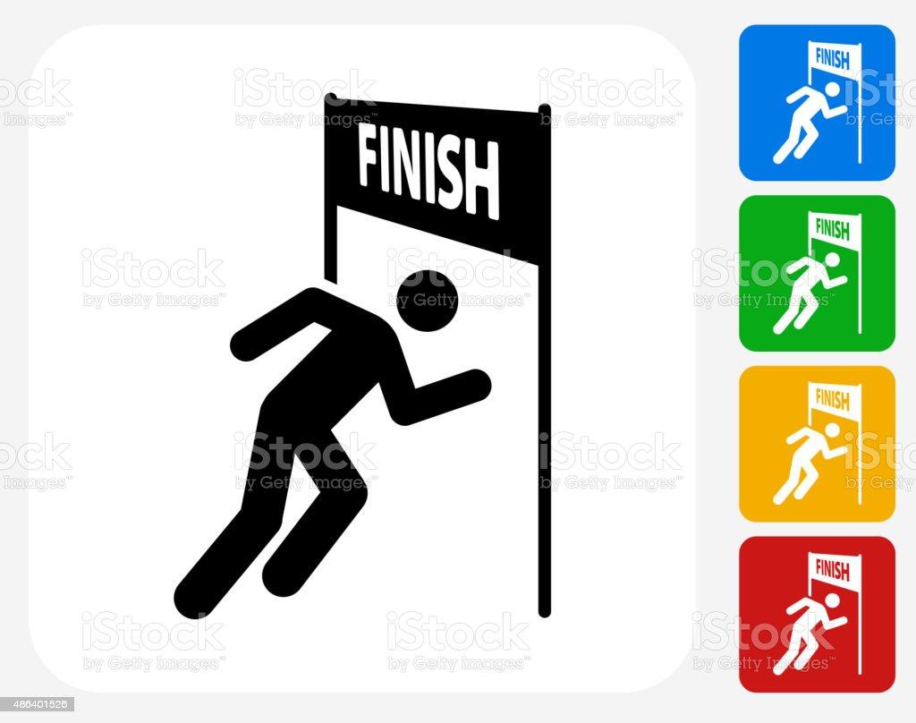 Running Finish Line Icon Flat Graphic Design vector art illustration