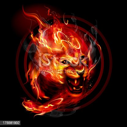 Running fire Lion. Isolated on black. EPS 10 with blending colors effects.
