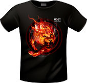 T-shirt with a picture of the running fiery lion. EPS 10 with blending colors effects.