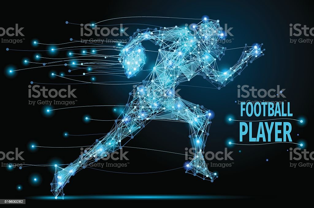 Running footballer polygonal vector art illustration