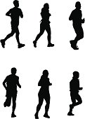 Running for It! (Vector drawing, silhouette, jog, run)