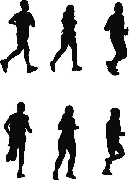 Running for It! (Vector drawing, silhouette, jog, run) vector art illustration