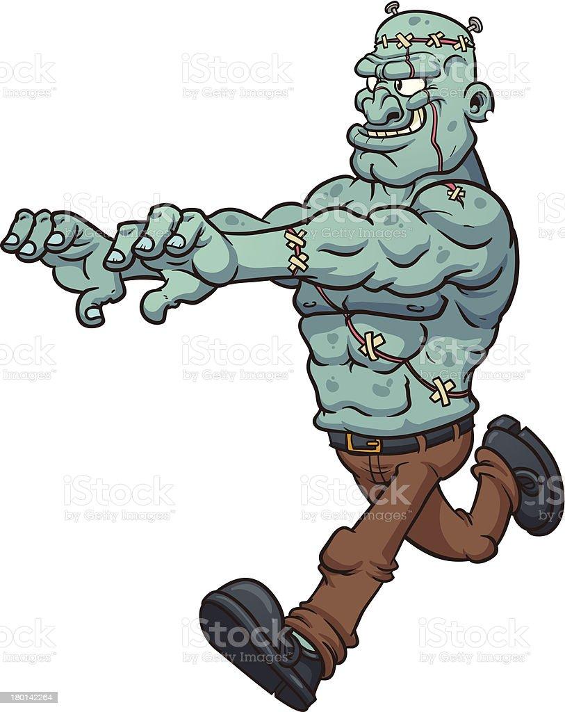 Running Frankenstein monster royalty-free stock vector art
