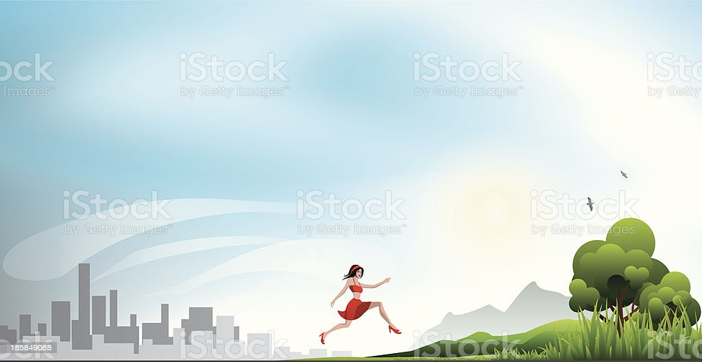Running from a city to the nature royalty-free stock vector art