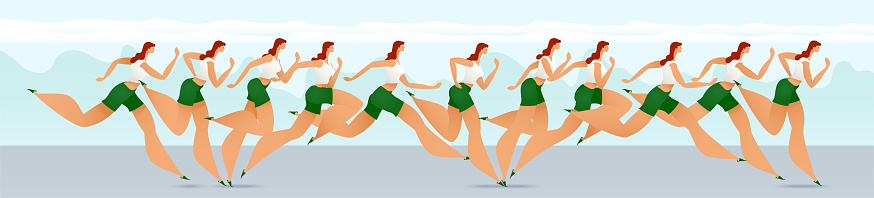 Running girl. Running in the fresh air. Motion frame by frame. Sport. Leisure. Healthy lifestyle. Vector. EPS10