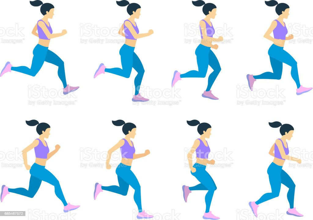 Running Girl Young Female Athlete In Tracksuit Vector Set Of ...