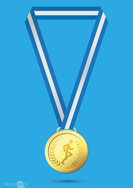 Running Gold medal vector art illustration