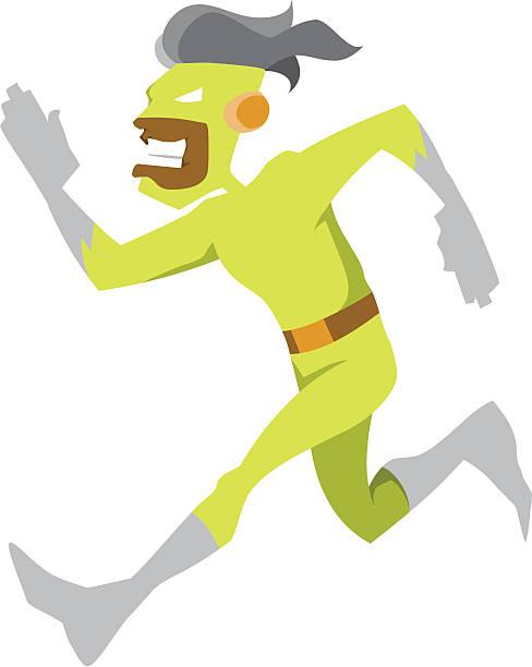 Running Green Man Character vector art illustration