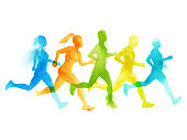 Running group of active people