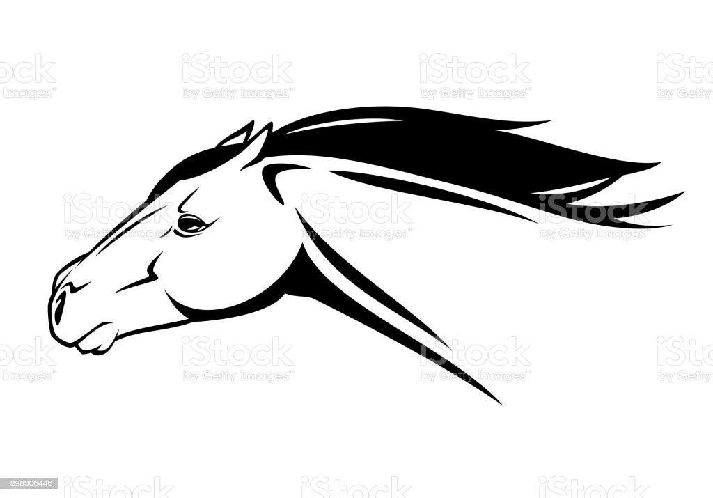 Laufen Pferd Kopf Schwarz Weißvektordesign Stock Vektor Art Und Mehr