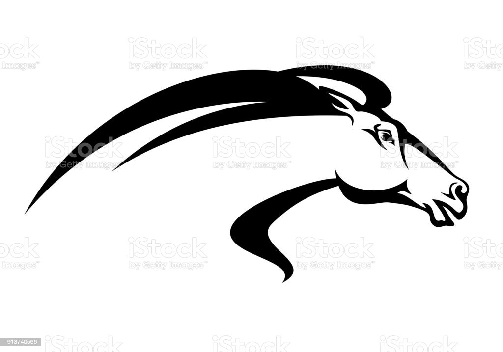 running horse head black vector design vector art illustration
