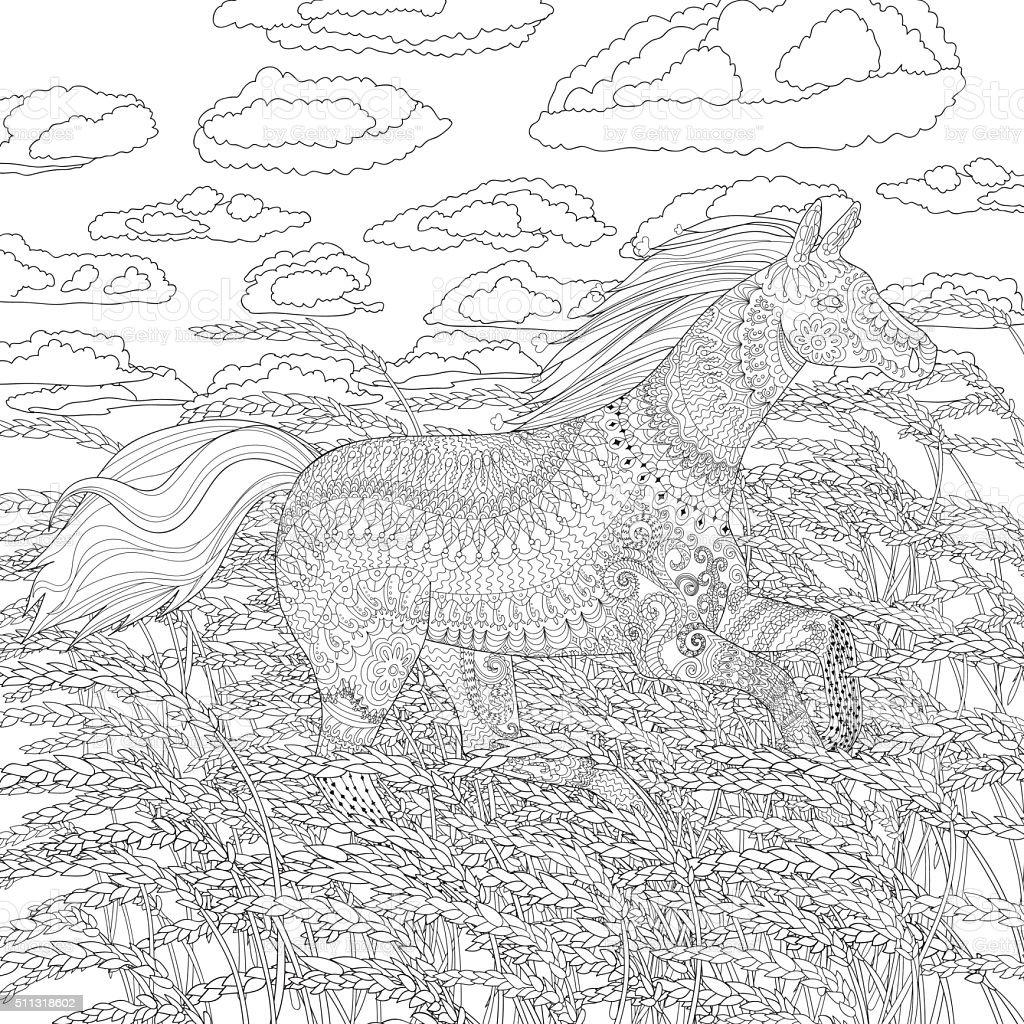 Ilustración de Corriendo Caballo En El Campo De Trigo y más banco de ...