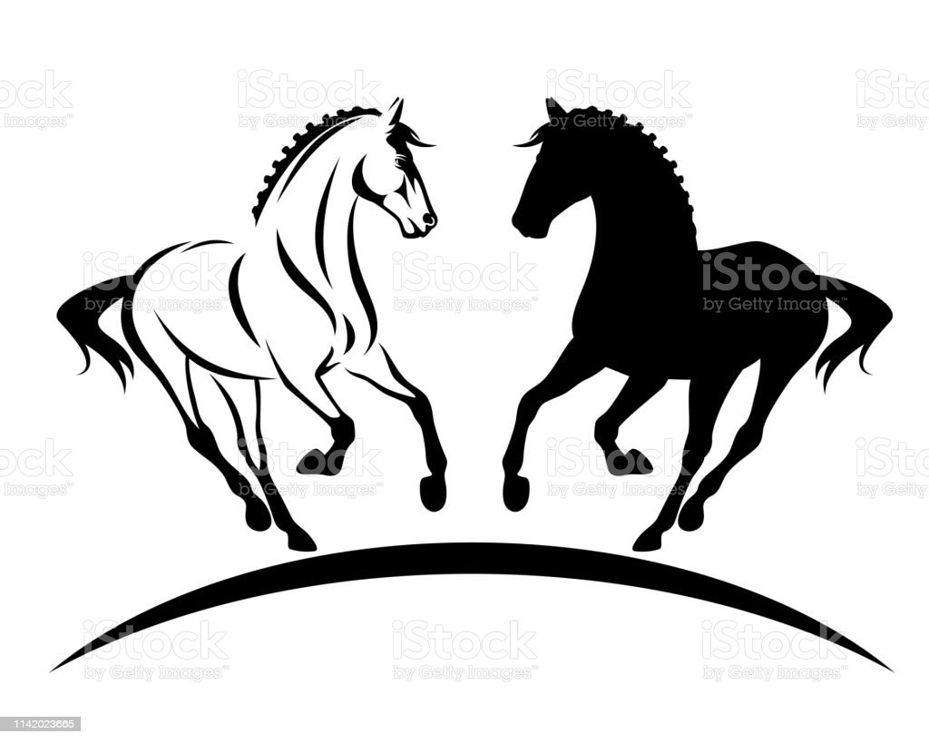 Running Horse Outline And Silhouette Vector Stock Illustration Download Image Now Istock
