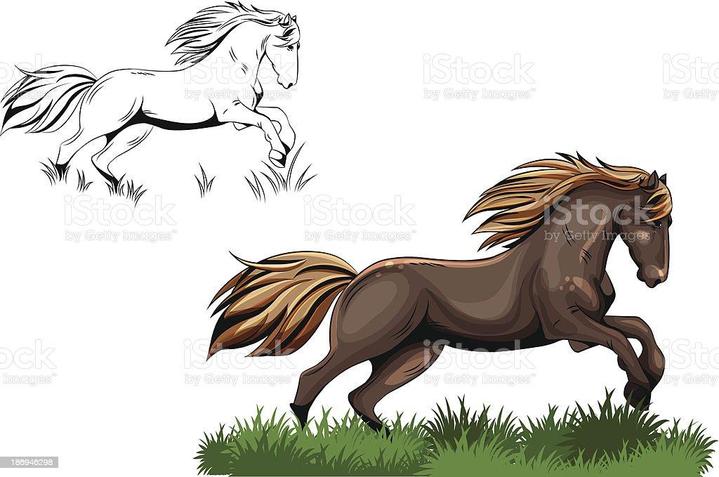 running horse royalty-free stock vector art
