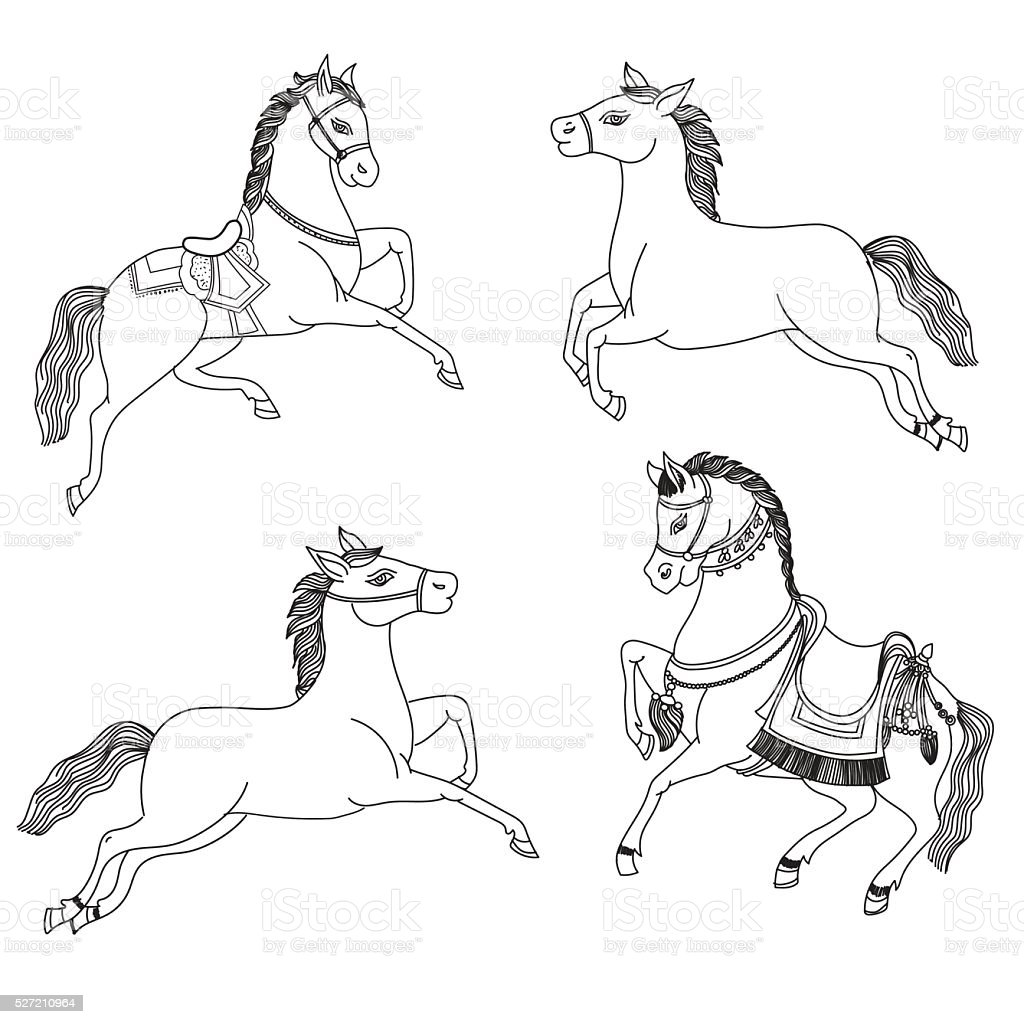 Running Horse Vector On A White Background Outline Drawing Horses Stock Illustration Download Image Now Istock