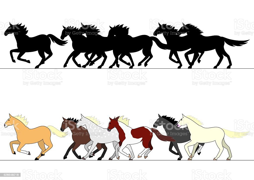 running horses group set vector art illustration