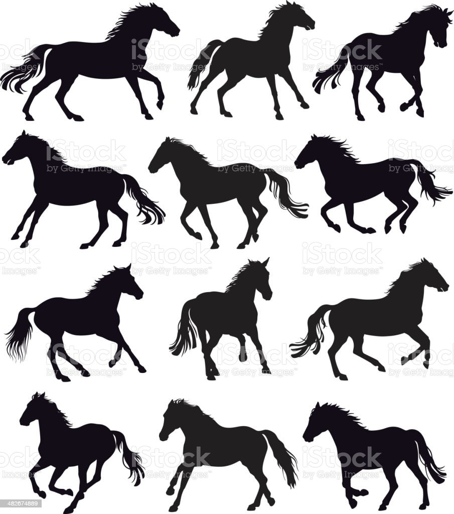 Running Horses vector art illustration