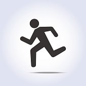 simple running human icon silhouette in vector