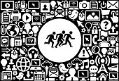 Running  Icon Black and White Internet Technology Background. This image features the main icon on a white round button. The vector button is surrounded by a seamless pattern of internet and modern technology icons. The icons vary in size and are white in color. The background is a solid black color. Icons include such technology elements as computer, email, internet, communications and many more.
