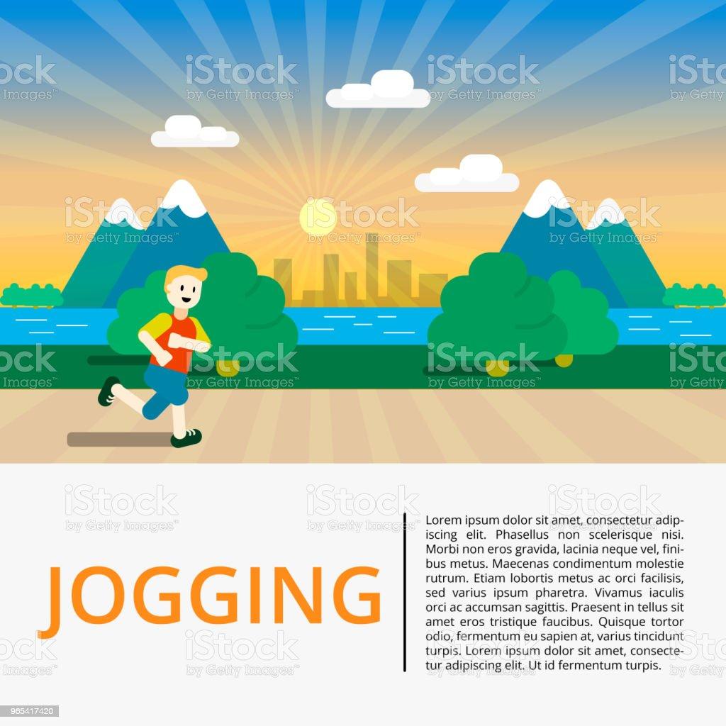 Running in city park. Man runner outside jogging in park. Vector flat illustration running in city park man runner outside jogging in park vector flat illustration - stockowe grafiki wektorowe i więcej obrazów biegać royalty-free