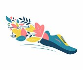 Running in nature. Sneakers, flowers and leaves. Symbol of an active lifestyle in harmony with the environment. Flat Vector Illustration