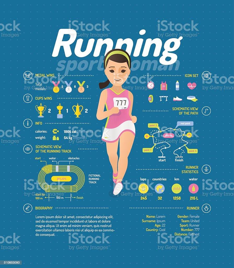 Running infographic vector art illustration