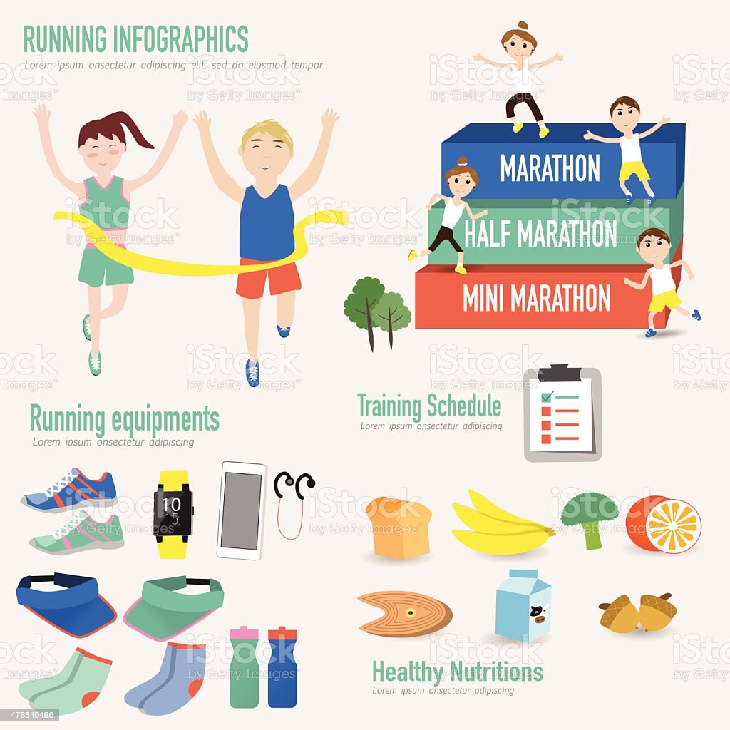 Running infographic with male and female in the finish line vector art illustration