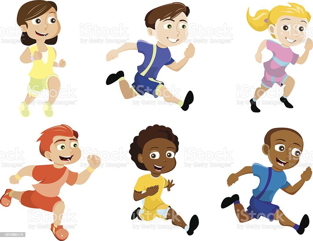 Kid Running In a Marathon - Royalty Free Clipart Picture