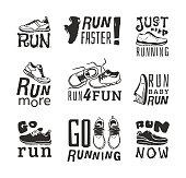 Running labels vector illustration