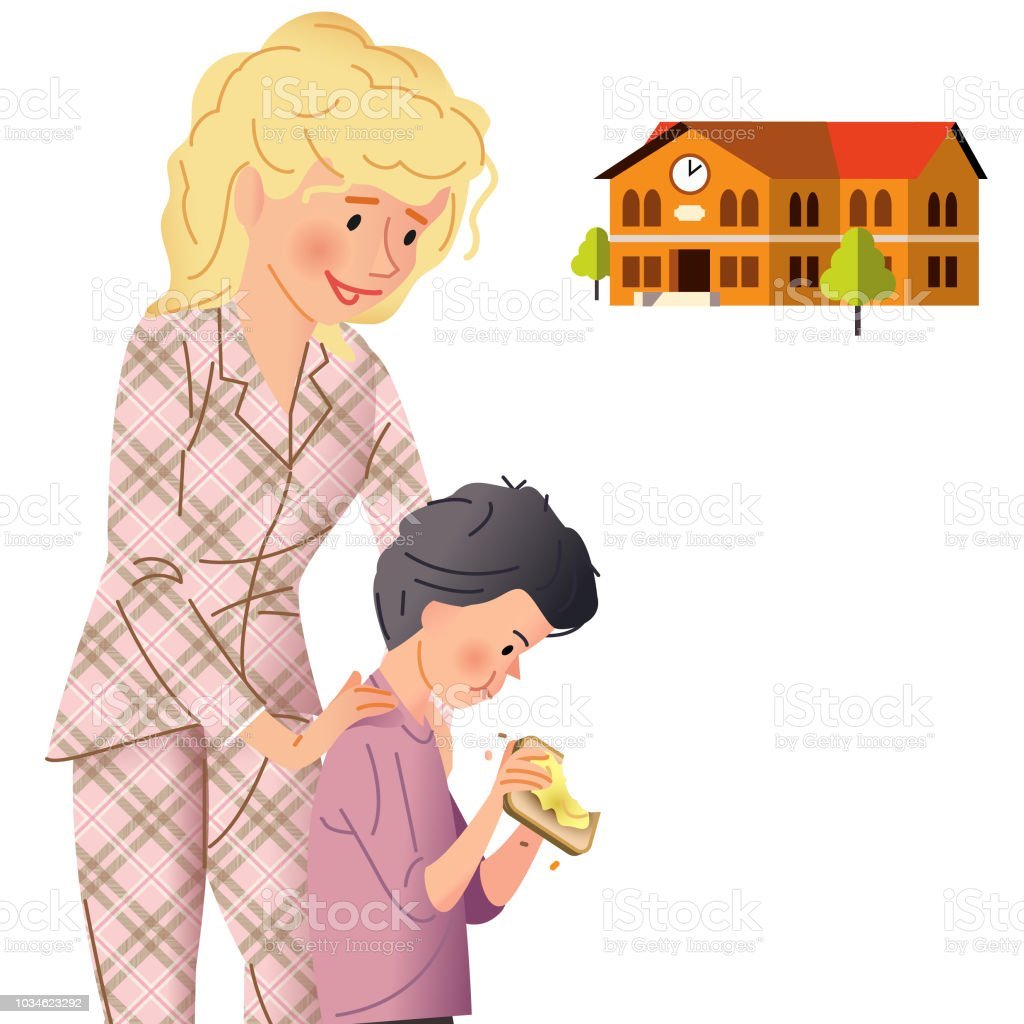 Running late for School vector art illustration