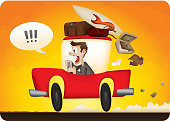 Cartoon portrayal of Man in red car running late for holiday, flight, trip or work. Suitcases and other luggage falls off back as the driver vents his frustration.